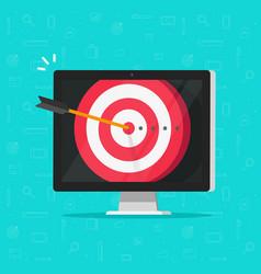 Target aim with arrow in bullseye on computer vector