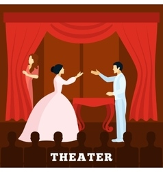 Theatre Stage Performance With Audience poster vector