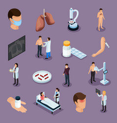 Tuberculosis prevention icons set vector