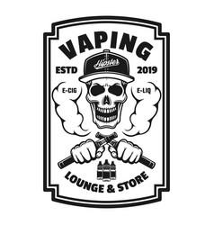 Vaping shop black square emblem with skull vector