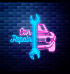 vintage car repair emblem glowing neon vector image