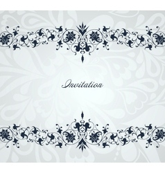 Vintage floral blue frame background vector