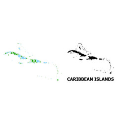 Winter mosaic map caribbean islands snow and vector