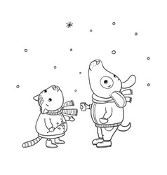 Winter postcard cute cartoon cat and dog vector