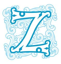 winter vintage letter Z vector image