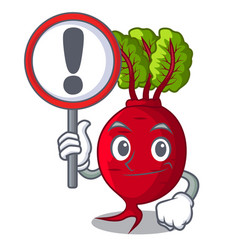 With sign cartoon fresh harvested beetroots in vector
