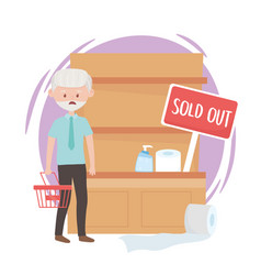 Worried old man with empty basket and sold out vector