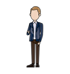young businessman standing with folded arms suit vector image