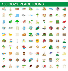 100 cozy place icons set cartoon style vector image vector image