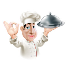 cartoon chef with serving tray vector image vector image