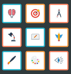 flat icons wings screen eye and other vector image