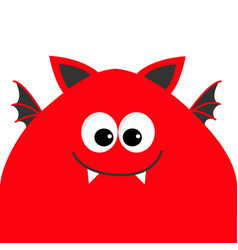 funny monster head with big eyes fang tooth and vector image vector image
