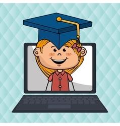 girl laptop student cap vector image vector image