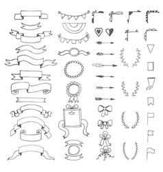 Set of hand drawn decorative elements Wedding vector image vector image