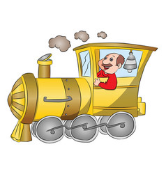 steam engine with driver vector image