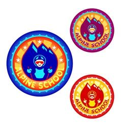 Alpine skiing school symbol vector image vector image