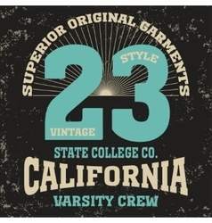 California College fashion design print for t vector image