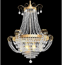 Chandelier with crystal pendants vector