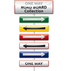 One way traffic board collection vector image vector image
