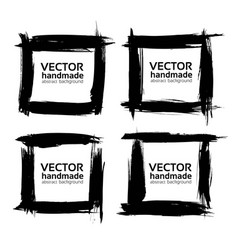 square frames from abstract black textured strokes vector image vector image