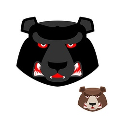 Angry bear head logo Aggressive Grizzly on white vector image vector image