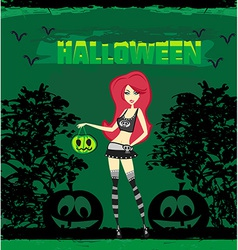 Halloween witch standing with pumpkin vector image vector image