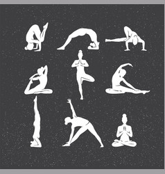 icons of woman silhouettes in yoga poses vector image