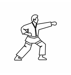 Karate fighter icon outline style vector image
