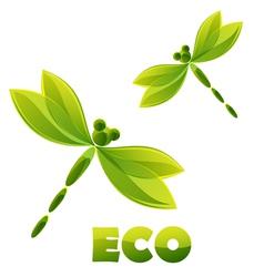 Logo - green dragonfly vector image vector image