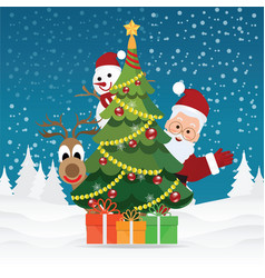 merry christmas greeting card with christmas vector image vector image