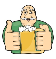 mustachioed man with a glass of beer vector image
