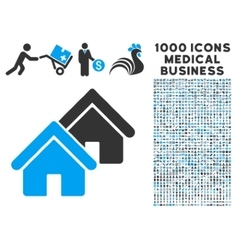Realty Icon with 1000 Medical Business Pictograms vector image vector image