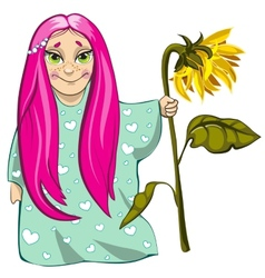 Small girl with sunflower vector image vector image