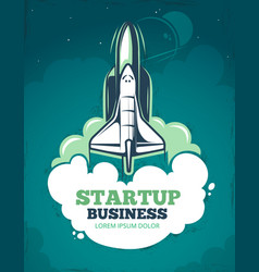 Startup grunge vintage 60s poster with vector