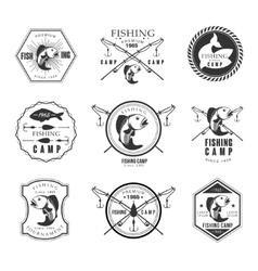 Vintage pike fishing emblems labels and design vector image vector image