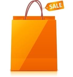 Orange shopping bag isolated on white background vector image