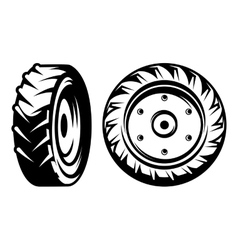 set of monochromatic tractor wheels vector image vector image