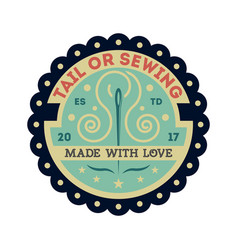 tailor sewing vintage isolated label vector image vector image