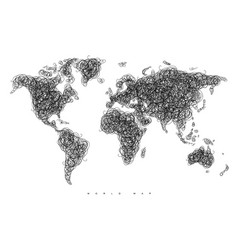 world map tangle lines vector image