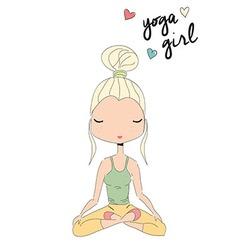 Yoga girl sitting in lotus pose hand drawn vector image