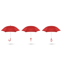 3d realistic render red blank umbrella icon vector