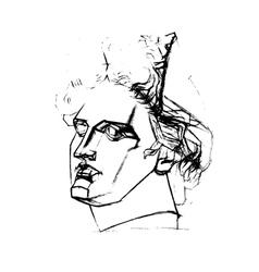 Academic drawing head apollo vector