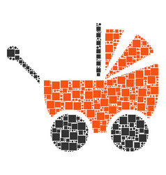 Baby carriage collage of squares and circles vector