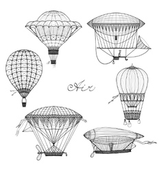 Balloon And Airship Doodle Set vector image