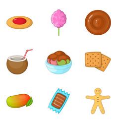 Barley sugar icons set cartoon style vector
