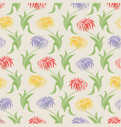beige floral seamless pattern with aster flowers vector image