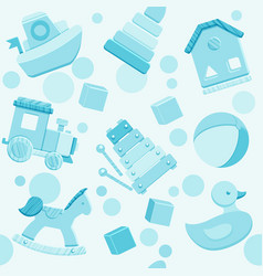 Blue seamless pattern with baby toys vector