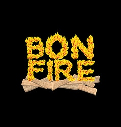 Bonfire typography Fire letters Burning Boards vector