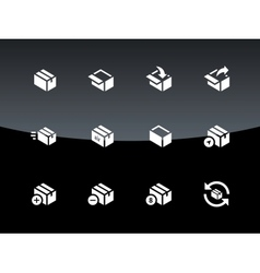 Box icons on black background vector image