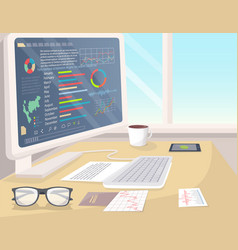 business statistics on white pc in bright office vector image